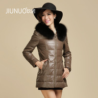 2013 genuine leather sheepskin leather clothing coat medium-long down female fox slim outerwear free shipping wholesale