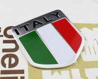 Auto car Aluminum ITALY Italian Flag shield Emblem Decal Badge Sticker