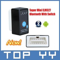 Super Mini Bluetooth ELM327 ELM 327 OBD2 obd ii CAN-BUS Diagnostic Car Scanner Tool with Switch Works on Android
