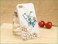 Bling Crystal rhinestones New Handmade 3D Butterfly Diamond Case Cover For iPhone 4 4g Free shipping