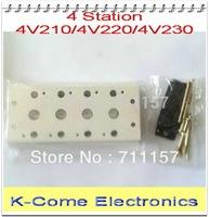4V210-08 Airtac Solenoid Valve Manifold / Base / Board  4 Station Pneumatic Solenoid Valve Manifold 200M-4F Free Shipping