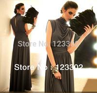 Free shipping Drop Shipping Top Quality Loose Low-key Luxury Long Evening Dress women dress S0056
