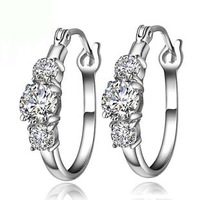 Luxurious rich sansheng earrings s925 pure silver jewelry gift birthday memorial girlfriend gifts Christmas gift