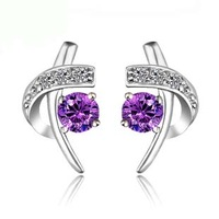 Spirally-wound amethyst stud earring zhaohao 925 pure silver jewelry gifts girlfriend birthday gift fashion