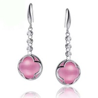 Sweet earrings drop earring pink 925 pure silver jewelry birthday gifts girlfriend gifts Christmas gift