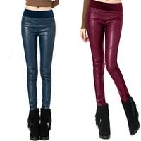 2013 Autumn Women's LEATHER  Trousers Plus Sizes Front Faux Leather PU  Back Velvet velour Skinny Pants   SZ  S,M,L,XL