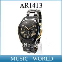 Free shipping AR1413 New Men's Chronograph Sport Ceramic Watch AR 1413 Gents Wristwatch + Original box