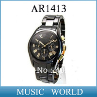 Free shipping AR1413 New Men's Chronograph Sport Ceramic Watch AR 1413 Gents Wristwatch + Original box