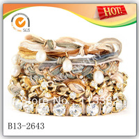 2013 Jewelry Wrap Leather Bracelets With Custom Cotton Woven Bracelet with Diamond And Pearl 20pcs/lot Free Shipping