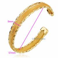 Classic 18k Yellow Gold Filled GF Solid Wedding Women Open Cuff Bangle Bracelet Free shipping