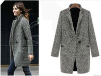 2013 Brand new pattern peacoat woman winter long wool cashmere coat houndstooth thick single button long sleeve christmas WJ3003