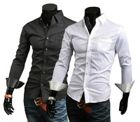 154 New Men Stylish Casual Slim Fit Long Sleeve Dress Shirt colour BLACK,WHITE