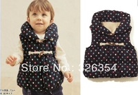2013 hot sell high quality lovely Baby winter vest girls color dot  vest