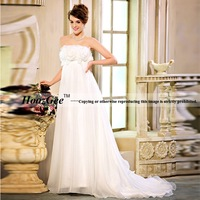 Free Shipping High-end Custom Trumpet Flowers Strapless Taffeta Pregnant Woman Bride Gowns Wedding Dress HoozGee-2320