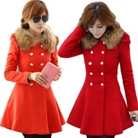 adies Fashion Winter blends long winter coat outerwear patchwork winter clothes fur women coat wool blends Overcoat SC9078