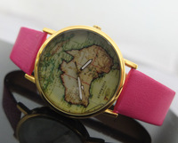 Mini order=$10.00 9 Colors New style, leather watches Fashion watches, World Map, Earth Map for Ladied women wrist watches