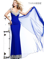 Fashion Sleeveless Appliqued Chiffon Custom Made Mermaid Long Prom Dresses 2014