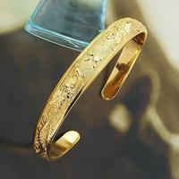 Luxury 24k Yellow Gold Filled GF Solid Wedding Women's Open Cuff Bangle Bracelet Length adjustable Free shipping