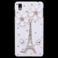 Free Shipping Tower and Flowers Diamond Bling Hard Back Case for LG Optimus L5 E610 E612