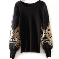 Sweater Women 2013 Auutmn/Winter Newest Retro/Vintage Black Gold Therad Embroidered long Sleeve Knitting Pullovers