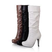 2015 Fashion sexy high-heeled platform brief high-leg boots white single shoes q042 women's shoes