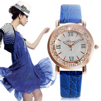 Table diamond women's inveted blue classic strap rhinestone watches for women quartz