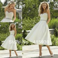Free shipping high quality pocket sweetheart beaded tea length short summer wedding dress HS164