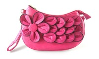Flower Coin Purses bags Women wallet Purse Girls Small Clutch Camellia Flower Handbag with long  shoulder strap