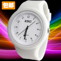 Watch candy color jelly student table fashion rhinestone silica gel table
