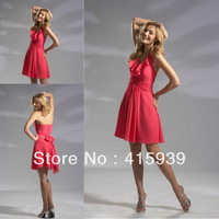 Promotion price halter sleeveless pleats short coral chiffon bridesmaid dresses brides maid dresses BN064