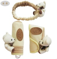 Free shipping baby bear brown Handbrake Grips cover & Padding cover set & car Seat Belts wholesale 3 in 1 /SET  car Decoration