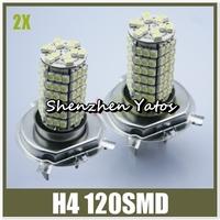 10pcs Car Automotive H4 120SMD 3528 White LED Headlight Fog Light  Lamp