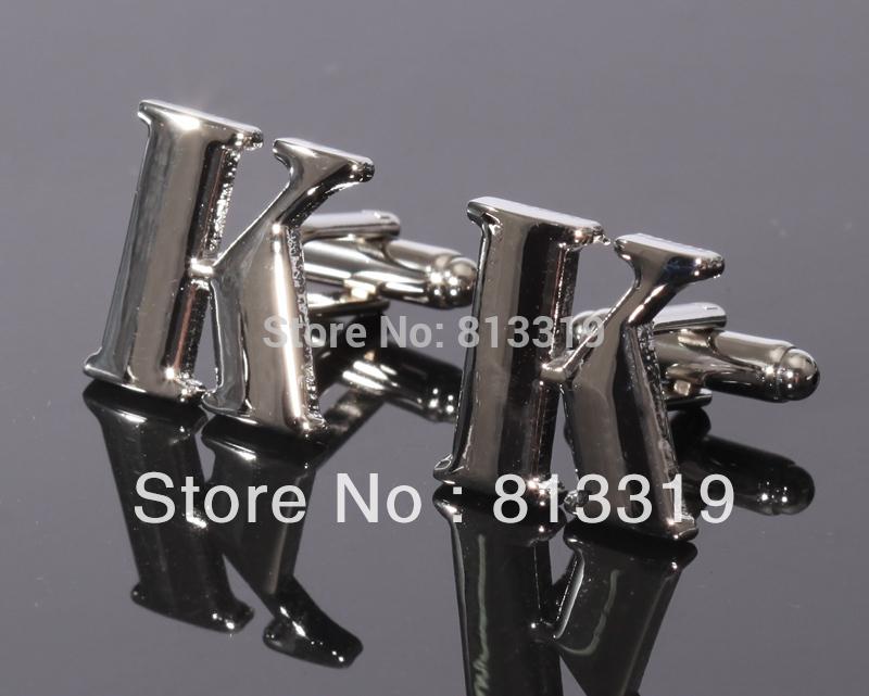 "CSS005K Silver Letter ""K"" fashion cobre Abotoaduras para a camisa(China (Mainland))"