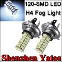 10pcs H4 120 SMD 3528 Car LED White DRL Fog Light Headlight High Beam Lamps Bulbs