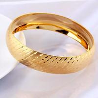 Luxury Wedding 18k Yellow Gold Filled GF Women's Wide Cuff Laser Cut Bangle Bracelet Free shipping