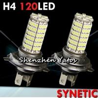 20pcs H4 3528 SMD 120 LED White Fog Headlight Bulbs Light Lamp 12V