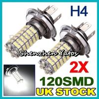 10pcs 120SMD 3528 LED Bulbs H4/9003/HB2 Fog/Daytime Light Lamp