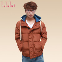 Hehehei2013 male autumn and winter fashion brief stand collar detachable cap short design thermal down coat