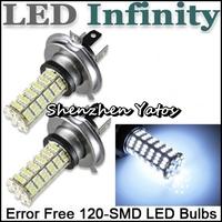 10pcs H4 120 SMD Pure White Fog Signal Tail Driving 120 LED 3528 Car Light Lamp Bulb