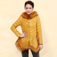2013 winter raccoon fur sheepskin genuine leather clothing women's down coat outerwear pn1255 free shipping yellow colour