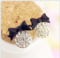 2013 Free Shiping The New Delicate Sparking Bow Earring Japan And South Korean Popular Lady Beatiful Earring