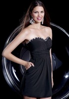 New Elegant Chiffon A-Line Beaded Sweetheart Sleeveless Short Cocktail Prom Dresses Customize