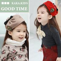 Efj16 embroidery badge hair accessory woolen pleated child female child hair pin hat hair bands headband