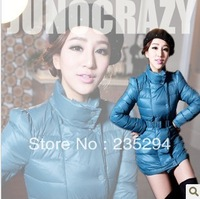 2013 New Brand Stand Collar Puff Sleeve Medium-long Down Coat Female Down Jacket Free Shipping