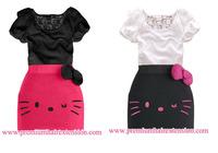 Summer dress Hello Kitty Bow dress lace girls tight dress baby girl dress Hello Kitty kids clothing 2pcs/set