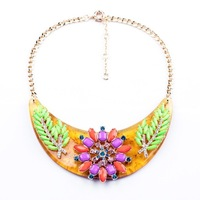 Fashion personality accessories resin moon olive branches flower pendant necklace female
