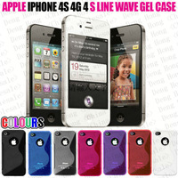 Free shipping wholesale 100pcs/lot New High Quality Soft TPU Gel S line Skin Cover Case For iphone 4G/4S iphone 4G/4S
