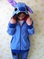 Winter Anime Animal Cute Cartoon Women Men's Blue Stitch Hoodie with Ears Hooded Hoody Coat Jacket Warm Polar Fleece Plus Size