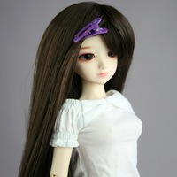 39# Dark Brown Long Straight Wig 1/4 MSD DOD AOD BJD Dollfie 7-8""