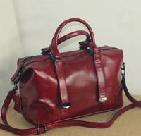 The new oil- wax leather commuter bag leather handbag portable shoulder bag Messenger bag retro motorcycle